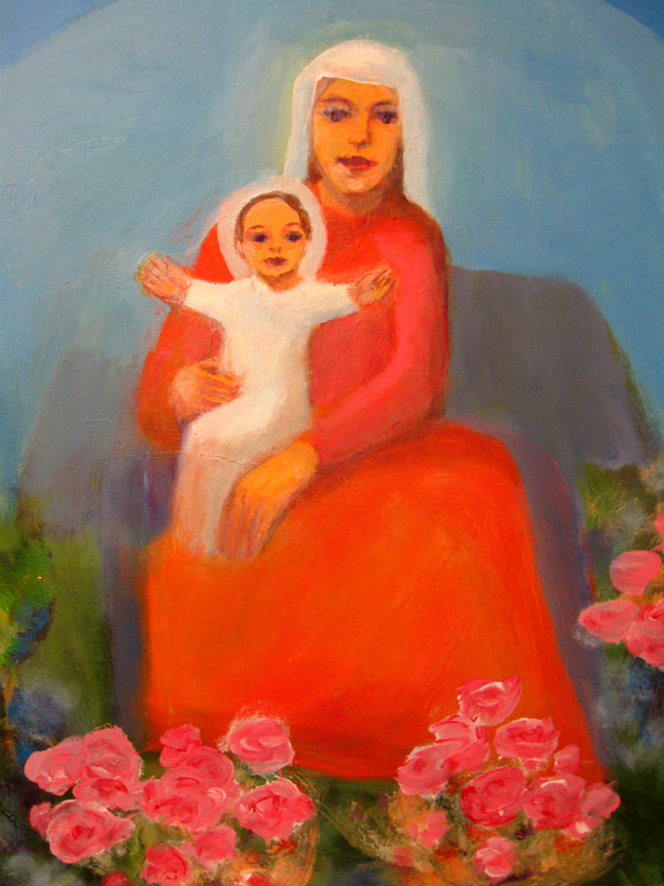 Mother and Child with Flowers  (portraits christian, Oil) - Fine Art by Donald G. Vogl, Fort Collins, Colorado