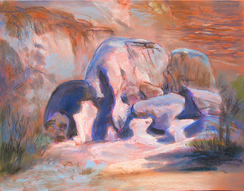 Nature Sculpture Colorado (landscapes, Pastel) - Fine Art by Donald G. Vogl, Fort Collins, Colorado