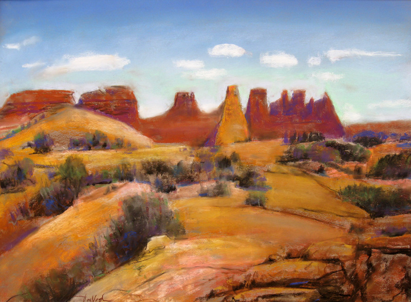 North Windows Arches National Park, Utah (landscapes, Pastel) - Fine Art by Donald G. Vogl, Fort Collins, Colorado