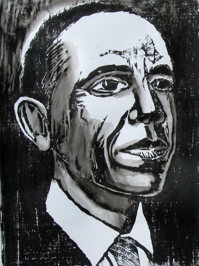 Obama  (portraits, Woodcut) - Fine Art by Donald G. Vogl, Fort Collins, Colorado