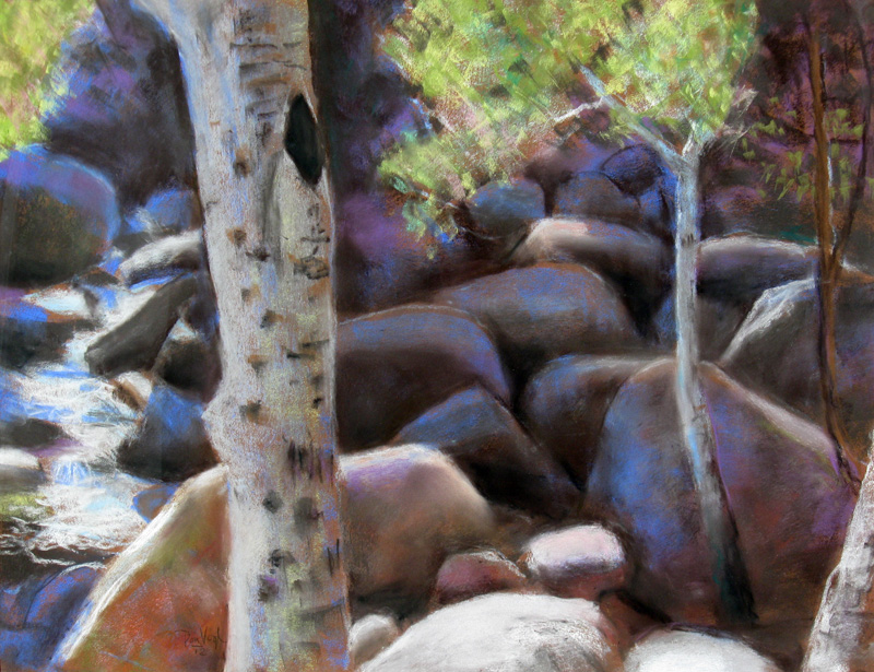 On the Rocks Rocky Mountain National Park, Colorado (landscapes, Pastel) - Fine Art by Donald G. Vogl, Fort Collins, Colorado