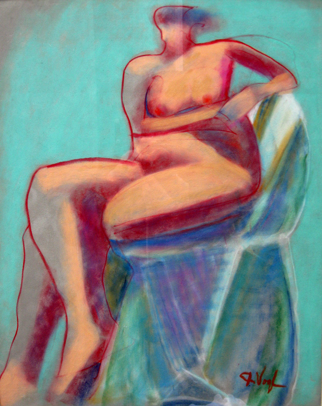 Pause  (figures nudes, Pastel) - Fine Art by Donald G. Vogl, Fort Collins, Colorado