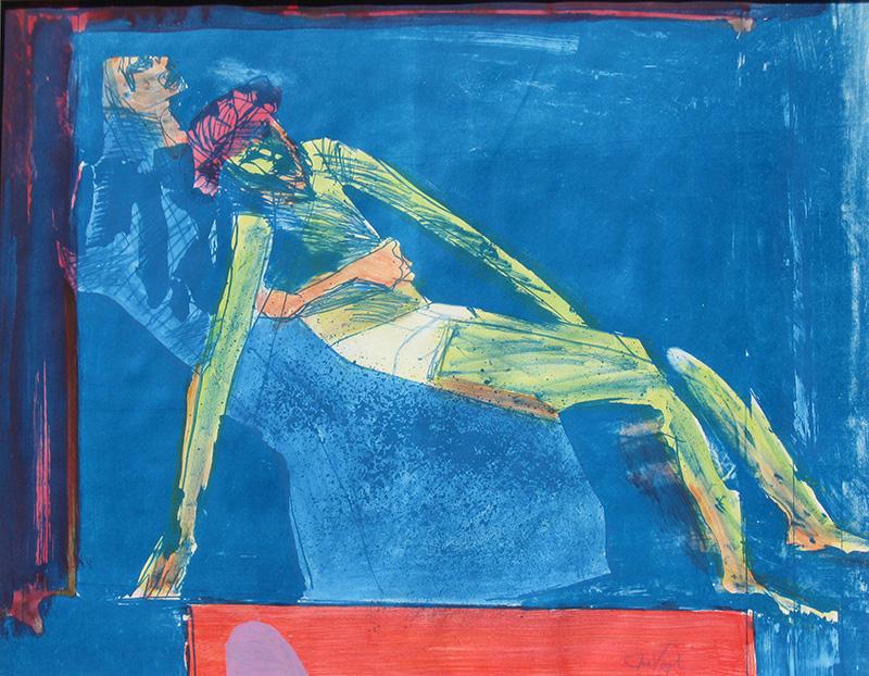 Pieta  (figures christian, Hand Colored Lithograph) - Fine Art by Donald G. Vogl, Fort Collins, Colorado
