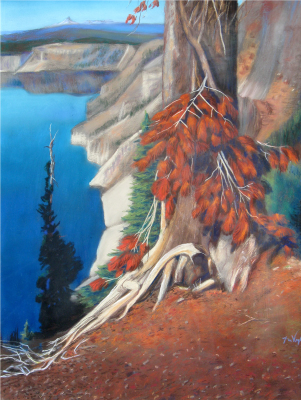 Pine Tree at Crater Lake Crater Lake, Oregon (landscapes, Pastel) - Fine Art by Donald G. Vogl, Fort Collins, Colorado