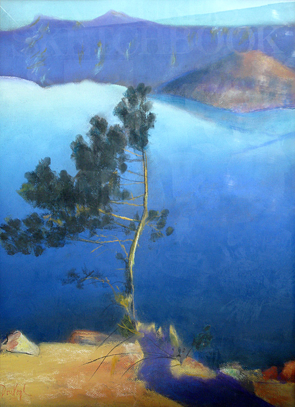 Pine Tree Crater Lake, Oregon (landscapes, Pastel) - Fine Art by Donald G. Vogl, Fort Collins, Colorado