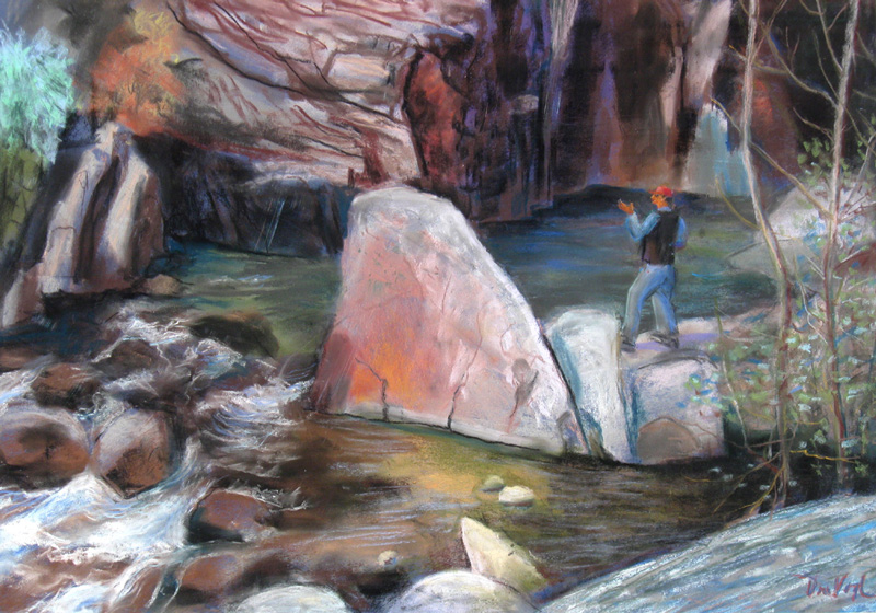 The Poet Big Thompson River, Colorado (landscapes, Pastel) - Fine Art by Donald G. Vogl, Fort Collins, Colorado
