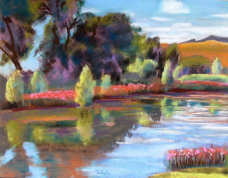 Pond at Spring Canyon Spring Canyon Park, Fort Collins, Colorado (landscapes, Pastel) - Fine Art by Donald G. Vogl, Fort Collins, Colorado