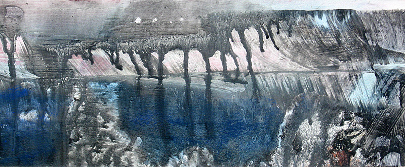 Pond Reflections  (abstracts, Monoprint) - Fine Art by Donald G. Vogl, Fort Collins, Colorado