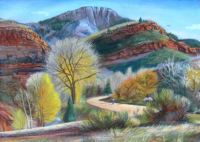 Portrait of Horsetooth Horsetooth Mountain, Fort Collins, Colorado (landscapes, Pastel) - Fine Art by Donald G. Vogl, Fort Collins, Colorado