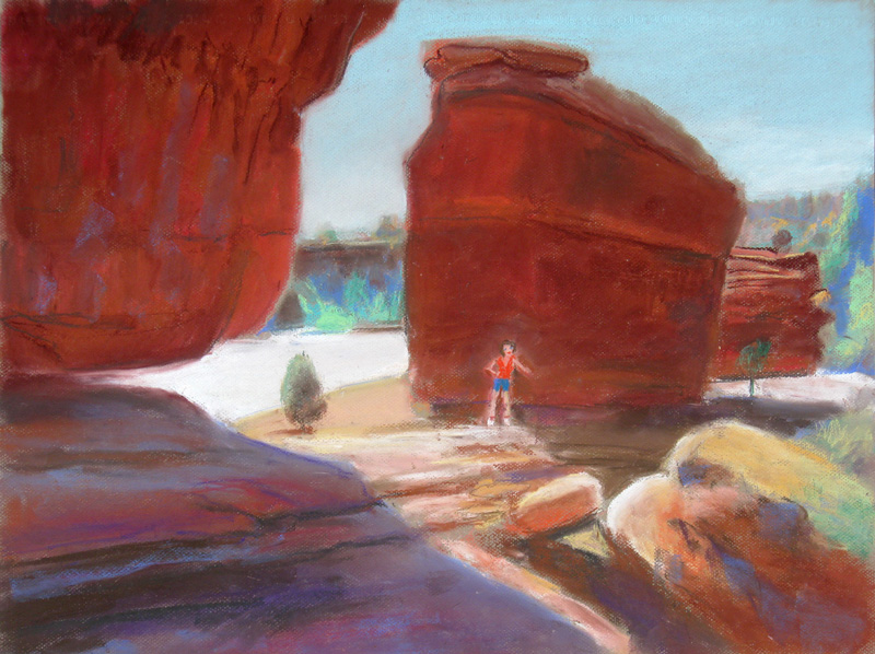 Girls Posing at the Garden of the Gods Garden of the Gods, Colorado Springs, Colorado (landscapes, Pastel) - Fine Art by Donald G. Vogl, Fort Collins, Colorado