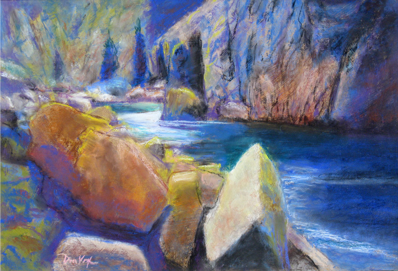 Poudre Blues Poudre River, Colorado (landscapes, Pastel) - Fine Art by Donald G. Vogl, Fort Collins, Colorado