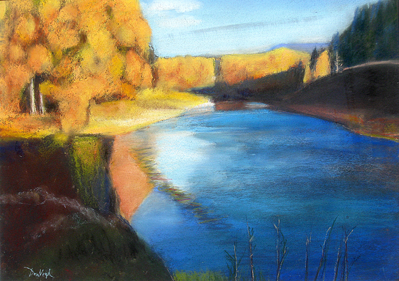 Poudre River at College Avenue Fort Collins, Colorado (landscapes, Pastel) - Fine Art by Donald G. Vogl, Fort Collins, Colorado