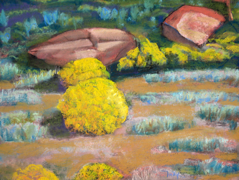 Rabbit Brush and Rocks Colorado (landscapes, Pastel) - Fine Art by Donald G. Vogl, Fort Collins, Colorado