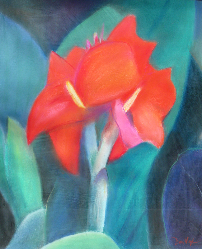 Red Flower  (still lifes, Pastel) - Fine Art by Donald G. Vogl, Fort Collins, Colorado