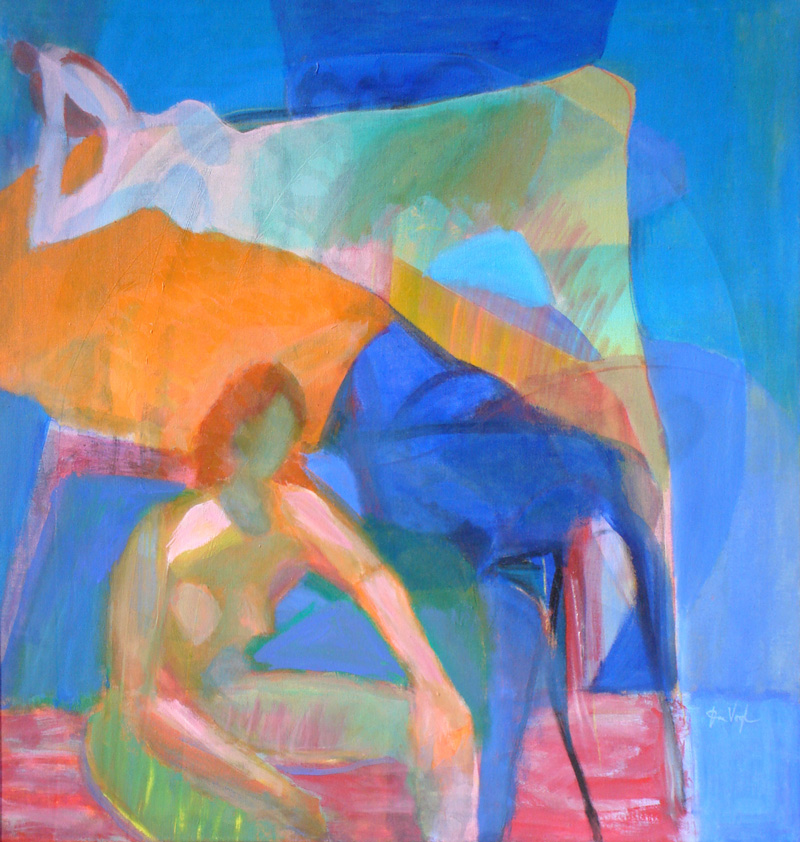 Relax  (abstracts figures, Acrylic) - Fine Art by Donald G. Vogl, Fort Collins, Colorado