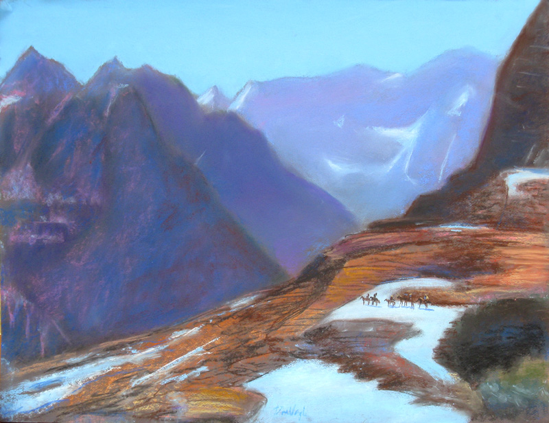 Riders at Glacier Park Montana (landscapes, Pastel) - Fine Art by Donald G. Vogl, Fort Collins, Colorado
