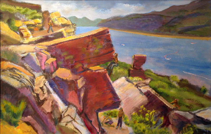Rock Climbers at Horsetooth Horsetooth Reservoir, Fort Collins, Colorado (landscapes, Pastel) - Fine Art by Donald G. Vogl, Fort Collins, Colorado