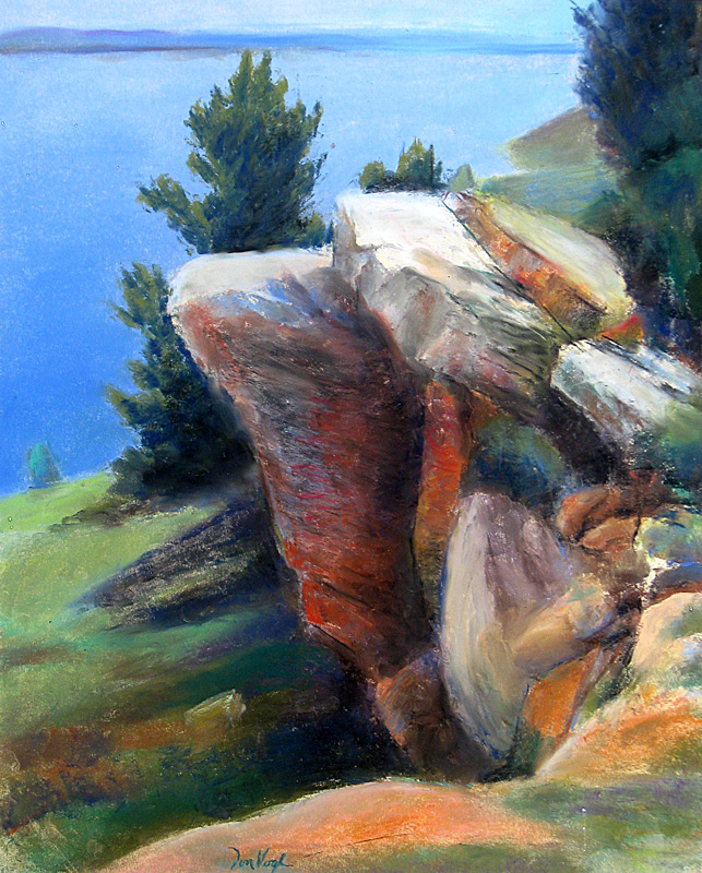 Rock Formation Horsetooth Reservoir, Colorado (landscapes, Pastel) - Fine Art by Donald G. Vogl, Fort Collins, Colorado