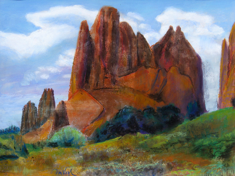 Rock Formation, North Garden Garden of the Gods, Colorado (landscapes, Pastel) - Fine Art by Donald G. Vogl, Fort Collins, Colorado