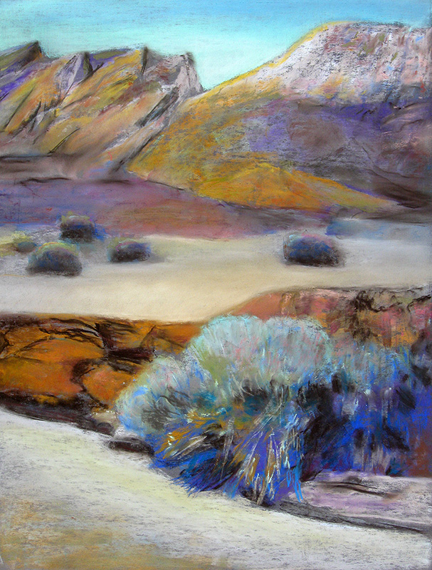 Rock, Sand, Bush East Utah (landscapes, Pastel) - Fine Art by Donald G. Vogl, Fort Collins, Colorado