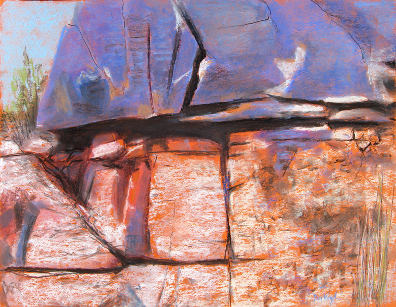 Rock Strata Colorado (landscapes, Pastel) - Fine Art by Donald G. Vogl, Fort Collins, Colorado