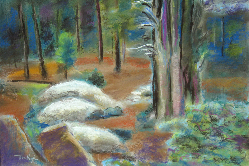 Rock, Trees, Vegetation Colorado (landscapes, Pastel) - Fine Art by Donald G. Vogl, Fort Collins, Colorado