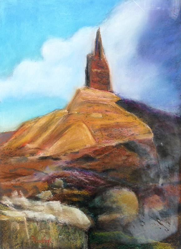 Scotts Bluff Nebraska (landscapes, Pastel) - Fine Art by Donald G. Vogl, Fort Collins, Colorado