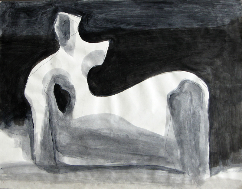 Seated Figure  (abstracts figures monochromes, Watercolor) - Fine Art by Donald G. Vogl, Fort Collins, Colorado