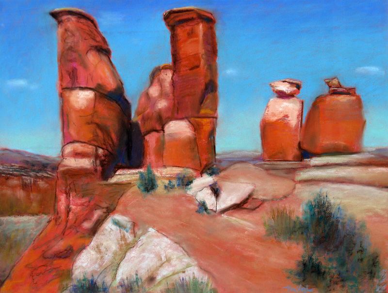 Sentinels Utah (landscapes, Pastel) - Fine Art by Donald G. Vogl, Fort Collins, Colorado