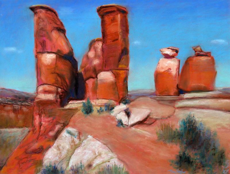 Sentinels Utah (landscapes, Pastel) - Fine Art by Donald G. Vogl, Fort Collins, Colorado