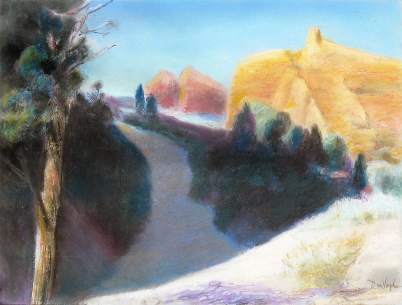 Shady Path North Arches Arches National Park, Utah (landscapes, Pastel) - Fine Art by Donald G. Vogl, Fort Collins, Colorado