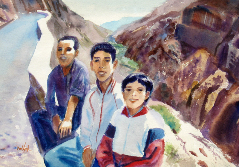 Three Shepherds Gorges du Dadès, Morocco (portraits, Watercolor) - Fine Art by Donald G. Vogl, Fort Collins, Colorado