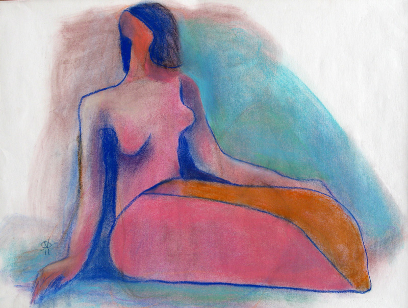 Sitting Figure  (figures, Pastel) - Fine Art by Donald G. Vogl, Fort Collins, Colorado