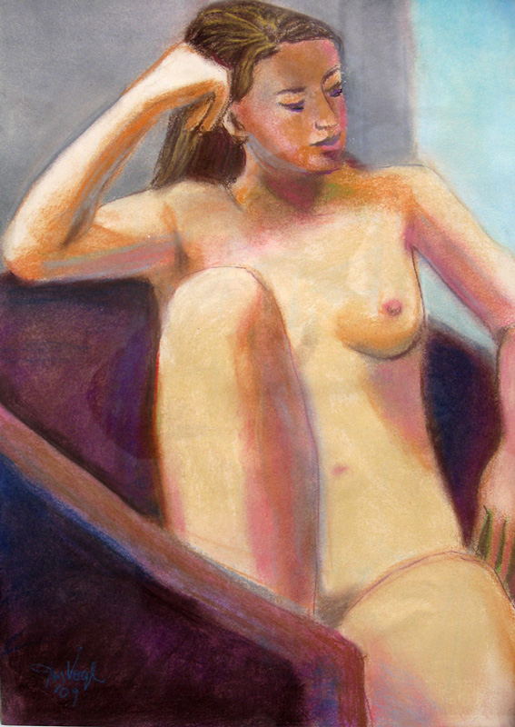 Sitting Figure  (portraits nudes, Pastel) - Fine Art by Donald G. Vogl, Fort Collins, Colorado