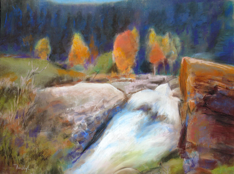 Small Waterfalls Colorado (landscapes, Pastel) - Fine Art by Donald G. Vogl, Fort Collins, Colorado