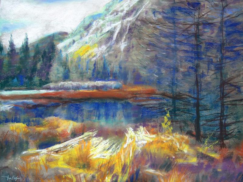 Snow Near Minturn Colorado (landscapes, Pastel) - Fine Art by Donald G. Vogl, Fort Collins, Colorado