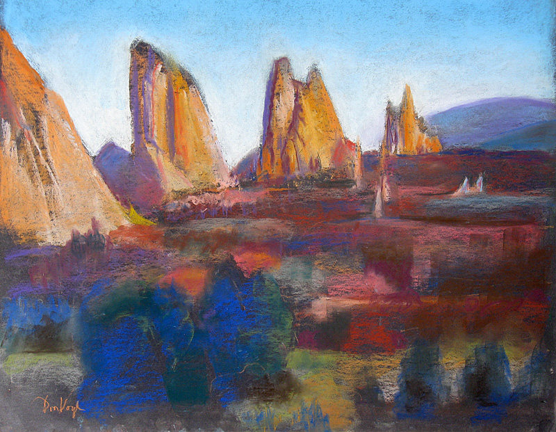 South View, Garden of the Gods Garden of the Gods, Colorado Springs, Colorado (landscapes, Pastel) - Fine Art by Donald G. Vogl, Fort Collins, Colorado