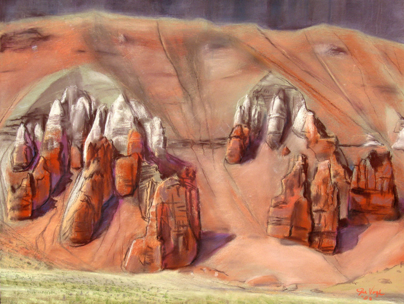 Spires Goblin Valley State Park, Utah (landscapes, Pastel) - Fine Art by Donald G. Vogl, Fort Collins, Colorado