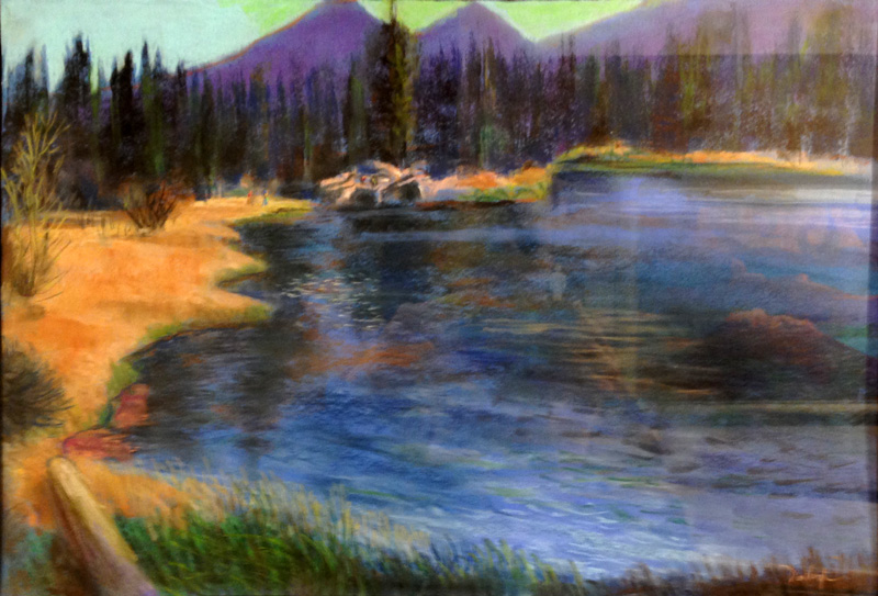 Sprague Lake Hikers Rocky Mountain National Park, Colorado (landscapes, Pastel) - Fine Art by Donald G. Vogl, Fort Collins, Colorado