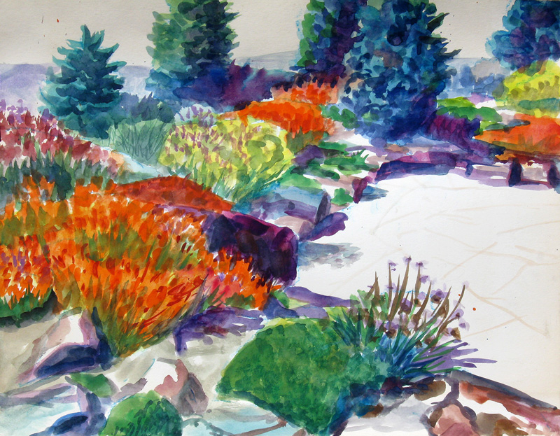 Spring Creek Garden Fort Collins, Colorado (landscapes, Watercolor) - Fine Art by Donald G. Vogl, Fort Collins, Colorado