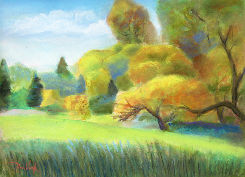 Spring at Roland Moore Park Fort Collins, Colorado (landscapes, Pastel) - Fine Art by Donald G. Vogl, Fort Collins, Colorado