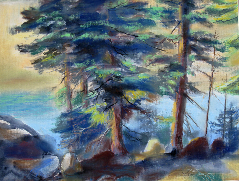 Stand of Pines, Bear Lake Rocky Mountain National Park, Colorado (landscapes, Pastel) - Fine Art by Donald G. Vogl, Fort Collins, Colorado