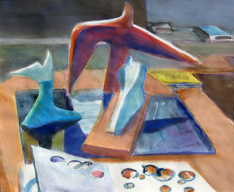 Still Life with Ceramic Bird  (still-lifes animals, Watercolor and Pastel) - Fine Art by Donald G. Vogl, Fort Collins, Colorado