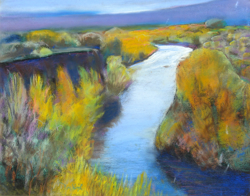 Wyoming Stream West of Thermopolis, Wyoming (landscapes, Pastel) - Fine Art by Donald G. Vogl, Fort Collins, Colorado