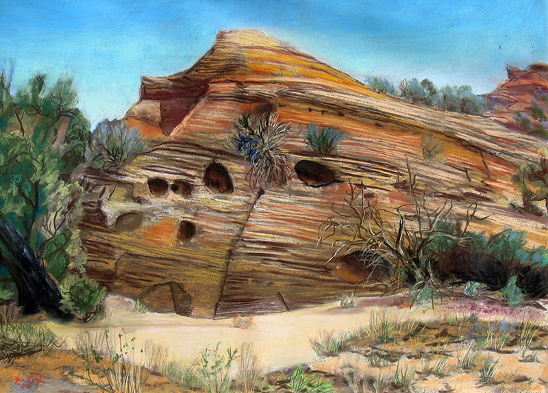 Striated Rock San Rafael Swell, Utah (landscapes, Pastel) - Fine Art by Donald G. Vogl, Fort Collins, Colorado