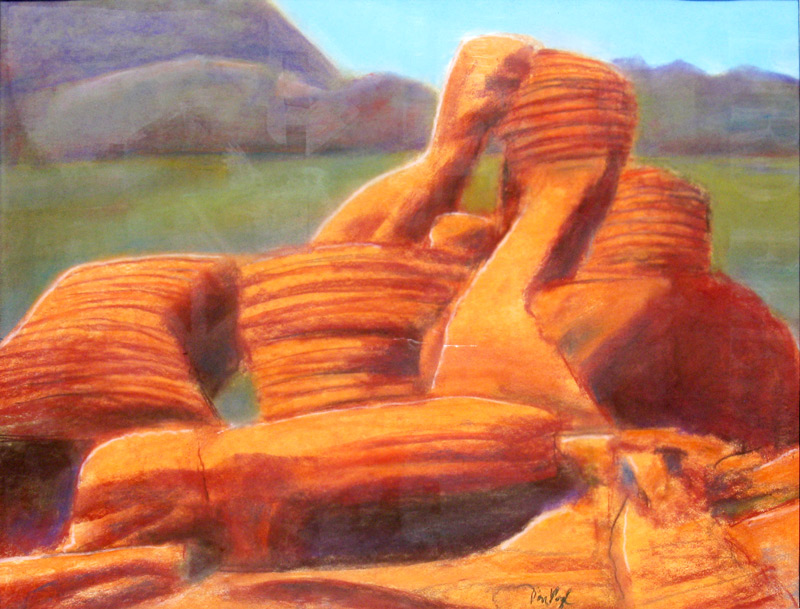 Striated Rocks Valley of Fire State Park, Las Vegas, Nevada (landscapes, Pastel) - Fine Art by Donald G. Vogl, Fort Collins, Colorado