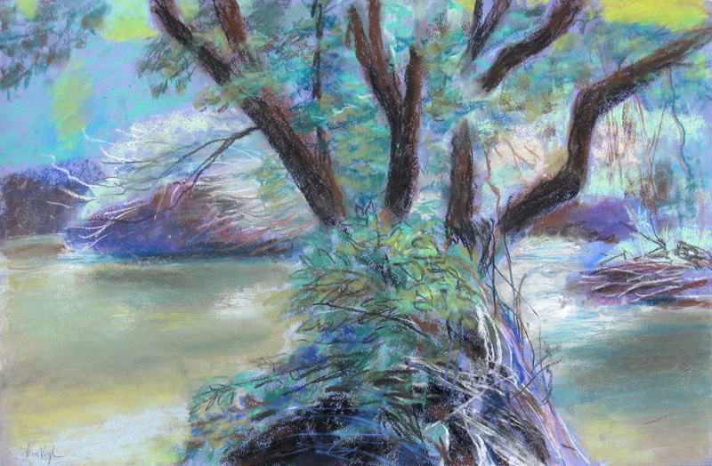 Summer Stream Colorado (landscapes, Pastel) - Fine Art by Donald G. Vogl, Fort Collins, Colorado