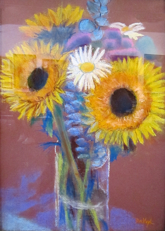 Sunflowers  (still-lifes, Pastel) - Fine Art by Donald G. Vogl, Fort Collins, Colorado