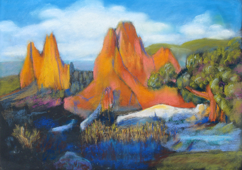 Sunrise Garden of the Gods, Colorado Springs, Colorado (landscapes, Pastel) - Fine Art by Donald G. Vogl, Fort Collins, Colorado