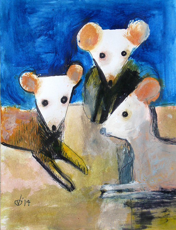 Three Mice  (animals, Watercolor and Ink) - Fine Art by Donald G. Vogl, Fort Collins, Colorado